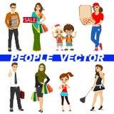 Sistema de caracteres diversos de la gente Foto de archivo libre de regalías