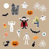 Sistema de caracteres en elementos styles de la historieta del festival de Halloween en el fondo de papel Imagen de archivo libre de regalías
