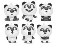 Sistema de caracteres lindos de la panda de la historieta con diversas emociones libre illustration