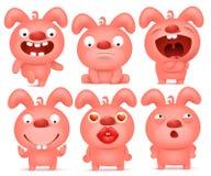 Sistema de caracteres rosados del emoticon de la historieta del conejito Imagen de archivo libre de regalías