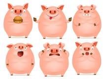 Sistema de caracteres rosados emocionales del cerdo de la historieta linda ilustración del vector