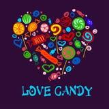Sistema de caramelos brillantes en el corazón de la forma para su publicidad Vector Fotos de archivo libres de regalías