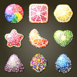 Sistema de caramelos de la fruta stock de ilustración