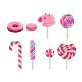 Sistema de caramelos planos del vector Bastón de caramelo, buñuelo, macaron, caramelo coloreado en el fondo blanco imagen de archivo libre de regalías