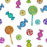 Sistema de caramelos y de piruletas Modelo inconsútil de la piruleta Caramelo en el palillo con el arco para el diseño Ejemplos d Fotografía de archivo libre de regalías