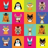 Sistema de caras animales simples lindas Foto de archivo libre de regalías