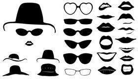 Sistema de caras de las mujeres con los sombreros Fotos de archivo libres de regalías