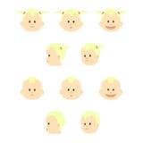 Sistema de caras de los bebés Ilustración del vector Foto de archivo libre de regalías