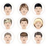 Sistema de caras de los muchachos Fotos de archivo libres de regalías