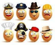 Sistema de caras del huevo del vector de profesionales con los casquillos en emociones libre illustration
