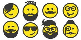 Sistema de caras del smiley del inconformista ilustración del vector
