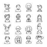 Sistema de caras dibujadas mano del garabato Fotos de archivo libres de regalías