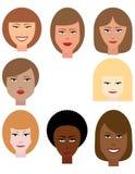Sistema de caras femeninas Imagenes de archivo