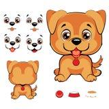 Sistema de caras de la historieta con la nariz de perro negro y diversas expresiones ilustración del vector