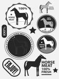 Sistema de carne, de carne de caballo, de etiquetas y de insignias del caballo del logotipo Vector Foto de archivo libre de regalías
