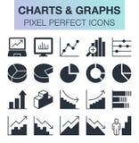 Sistema de cartas y de iconos de los gráficos Foto de archivo libre de regalías