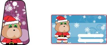 Sistema de carte cadeaux de la historieta del traje de peluche de Navidad de los clauslindos del oso Fotografía de archivo