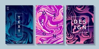 Sistema de carteles creativos del diseño con vetear Foto de archivo libre de regalías