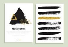Sistema de carteles de moda con textura del brillo del oro Fotografía de archivo