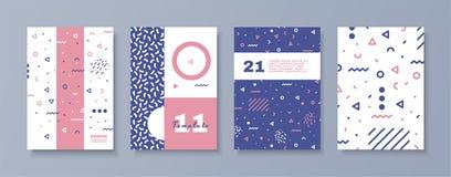 Sistema de carteles del estilo de Memphis Conjunto de elementos abstracto libre illustration