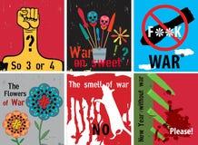 Sistema de carteles en la guerra Ilustración del vector Fotografía de archivo