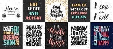 Sistema de carteles de motivación e inspirados del vector de las letras stock de ilustración
