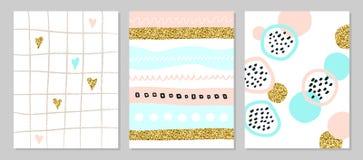 Sistema de carteles o de tarjetas universales creativos del arte con las chispas de oro Texturas dibujadas mano Boda, cumpleaños, libre illustration