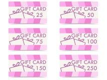 Sistema de cartes cadeaux con las cajas de regalo, diversas denominaciones libre illustration
