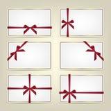 Sistema de cartes cadeaux con las cintas Fondo o plantilla del vector Imagen de archivo libre de regalías