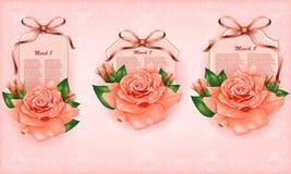 Sistema de cartes cadeaux hermosos con las rosas en colores pastel y  Imagen de archivo libre de regalías