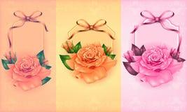 Sistema de cartes cadeaux hermosos con las rosas en colores pastel y  Imagenes de archivo