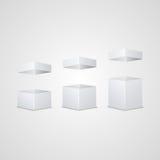 Sistema de cartones abiertos del blanco Fotografía de archivo