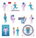 Sistema de Cartoon Character Icons del astronauta Foto de archivo libre de regalías