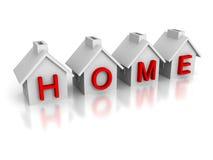 Sistema de casas con palabra roja del HOGAR del texto Imagen de archivo