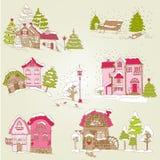 Sistema de casas de la Navidad Foto de archivo libre de regalías