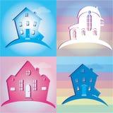 Sistema de casas de los iconos Ilustración del vector Imagen de archivo libre de regalías