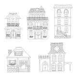 Sistema de casas del vintage del dibujo de la mano Foto de archivo libre de regalías