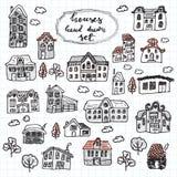 Sistema de casas en estilo del garabato libre illustration