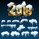 Sistema de casquetes glaciares Nieves acumulada por la ventisca, carámbanos, decoración del invierno de los elementos Foto de archivo libre de regalías