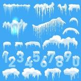 Sistema de casquetes glaciares Nieves acumulada por la ventisca, carámbanos, decoración del invierno de los elementos Imagen de archivo libre de regalías