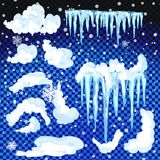 Sistema de casquetes glaciares Nieves acumulada por la ventisca, carámbanos, decoración del invierno de los elementos Equipo de l Fotografía de archivo libre de regalías
