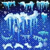 Sistema de casquetes glaciares Nieves acumulada por la ventisca, carámbanos, decoración del invierno de los elementos Equipo de l Imagen de archivo