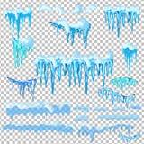 Sistema de casquetes glaciares Nieves acumulada por la ventisca, carámbanos, decoración del invierno de los elementos Equipo de l Foto de archivo