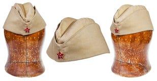 Sistema de casquillos de campo militares con la estrella roja soviética Fotos de archivo