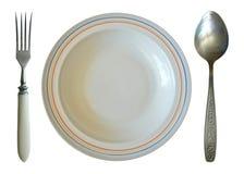 Sistema de cena Placa, cuchara y bifurcación aisladas Imagenes de archivo