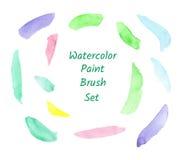 Sistema de cepillo colorido de la acuarela aislado stock de ilustración