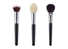 Sistema de cepillo del maquillaje Aislado Fondo blanco Imagen de archivo