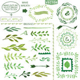 Sistema de cepillos de la acuarela Laurel floral del vintage stock de ilustración