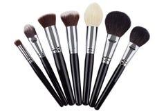 Sistema de cepillos del maquillaje Aislado Fondo blanco Imagen de archivo libre de regalías