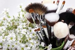 Sistema de cepillos del maquillaje con las flores pamplina Fondo blanco Fotografía de archivo